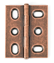 Photo: BH2A-OC-NF for mortised inset cabinet doors in Old Copper finish