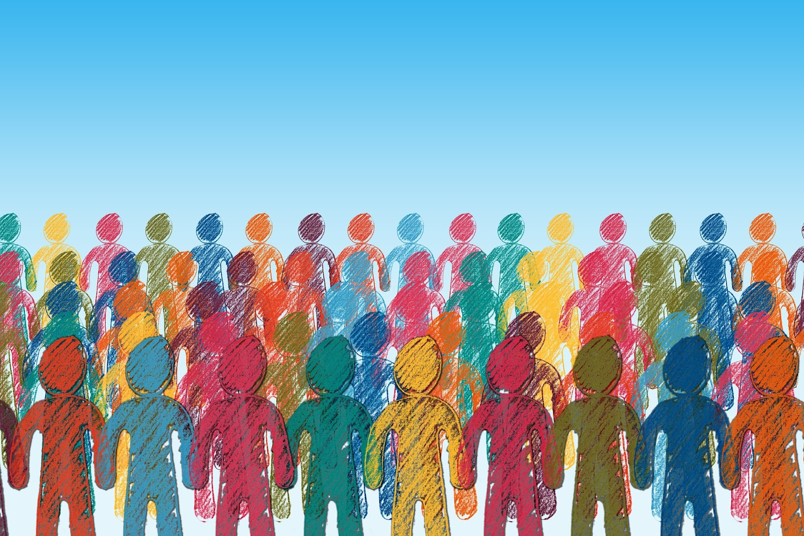 A crowd of human outlines in a rainbow of colors.
