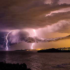 Stormy Sunset by Adam Beniston - Landscapes Weather ( lightning, wildweather, thunderstorm, sunset, sydney )