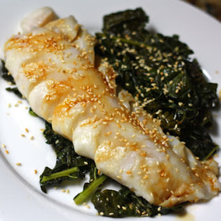 One-Skillet Cod and Kale With Ginger and Garlic.