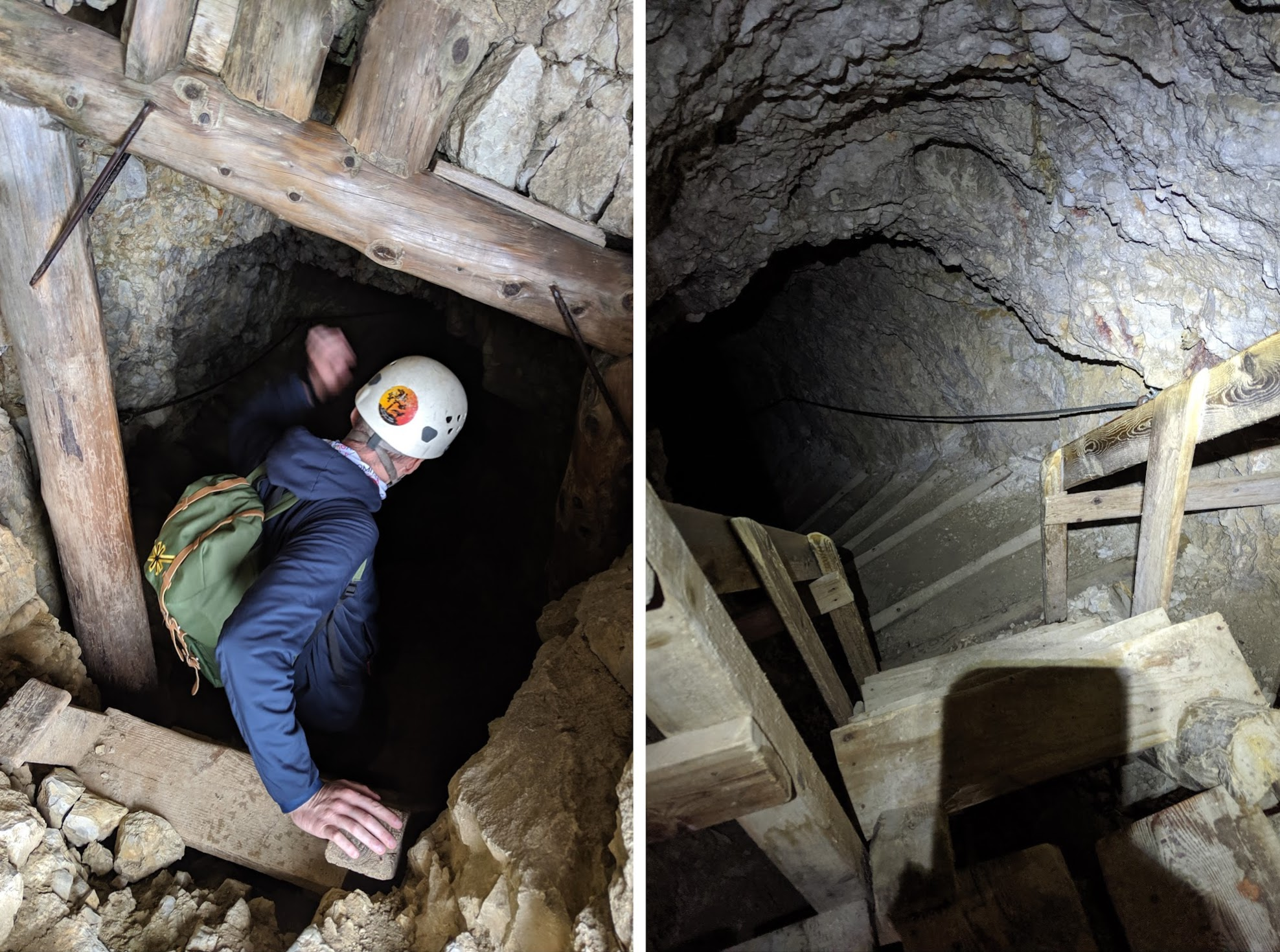 Left: Jack entering the tunnel system. Right: Steep steps inside the tunnel.