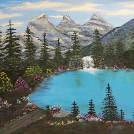 The Three Sisters by LC Collins - Painting All Painting ( sky, flowers, painting, moutains, trees, water, landscape )