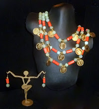 Photo: <BEREHYNYA> {Great Goddess Protectress} unique one-of-a-kind statement jewellery by Luba Bilash ART & ADORNMENT  # 71 OLYMPUS - ОЛІМП - gold-plated Olympic collector coins; new jade; coral; brass; 14K gold vermeil findings SOLD/ПРОДАНИЙ