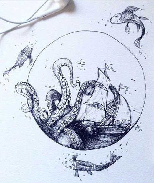 Octopus Shipwreck Drawing 55 Eye Catching...