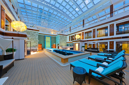 Norwegian-Escape-Haven-Courtyard - The Haven on Norwegian ships features a sun deck, private pool, premium accommodations, 24-hour butler and concierge service and other perks.