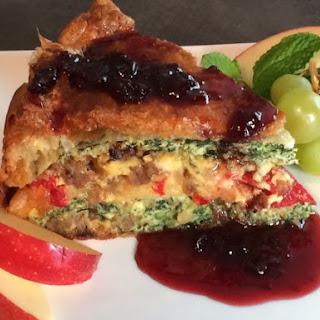 Layered Breakfast Torte with a Warm Cherry-Cayenne Balsamic Sauce