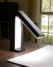 Photo: Lights fold in to close and to protect the florescent bulb.