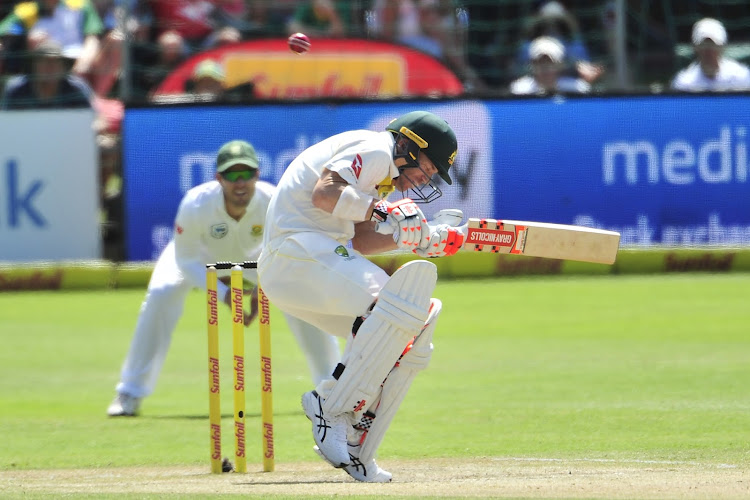 David Warner of Australia under fire from Kagiso Rabada of the Proteas during day three of the second 2018 Sunfoil Test match between South Africa and Australia at St George's Park, Port Elizabeth on 11 March 2018.