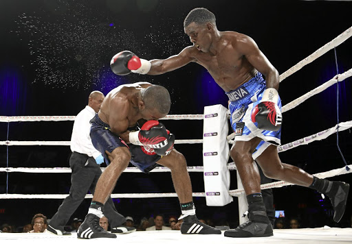 Xolisani Ndongeni, right, in an earlier fight against Abraham Ndaendopa, suffered a points defeat to US rising prospect Devin 'The Dream' Haney. /Menlyn Muzi Ntombela/Backpage