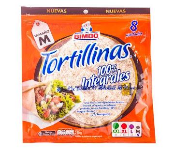 Tortilla Bimbo Integral   Paquete X8Und. X250G.
