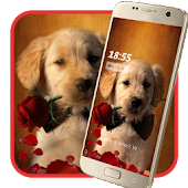 Cute puppy red rose theme
