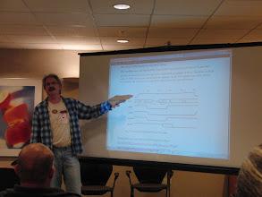 Photo: Jim Brain, explaining the clever custom kernal capability of the EasyFlash3