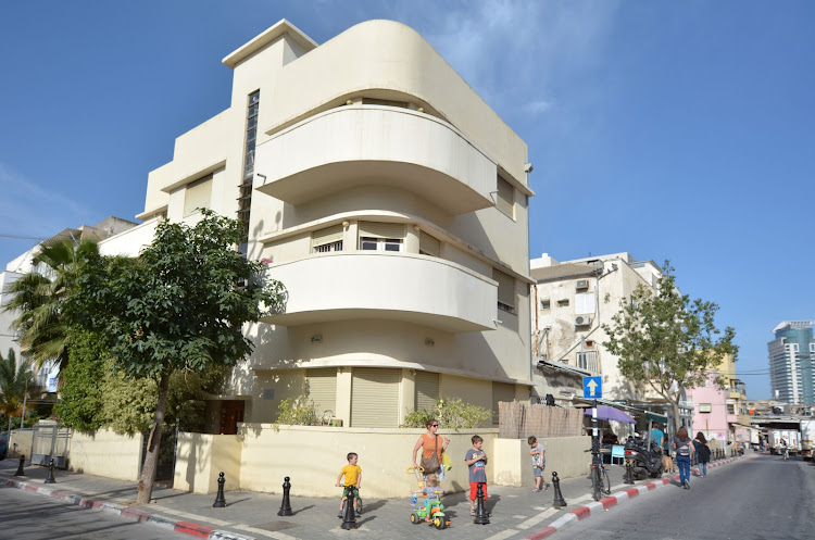 A white building in the Bauhaus style in Tel Aviv, Israel.