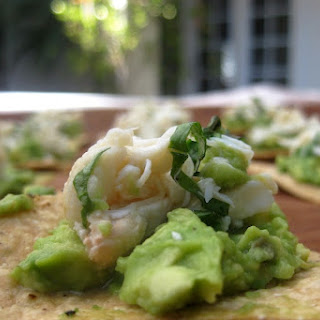Crab and Avocado Dip on Tortilla Chips.