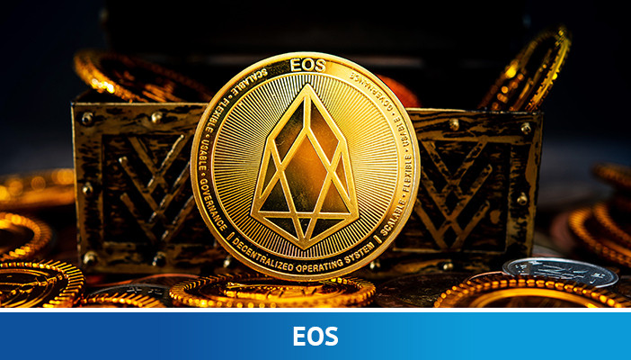 Ilustrasi mata uang kripto EOS