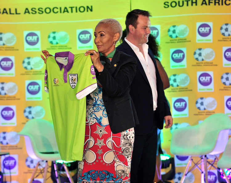 Safa vice-president Ria Ledwaba parades the new referees kit that will be worn by Premier Soccer League match officials starting from the Absa Premiership games from September 15 2018 onwards. Safa concluded a sponsorship deal with the insurance company OUTsurance on September 12 2018.