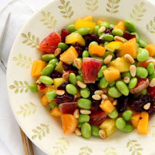 Edamame Salad with Persimmon, Peppers and Pine Nuts