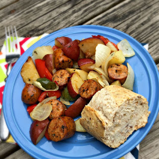 Simple Roasted Chicken Sausage with Vegetables