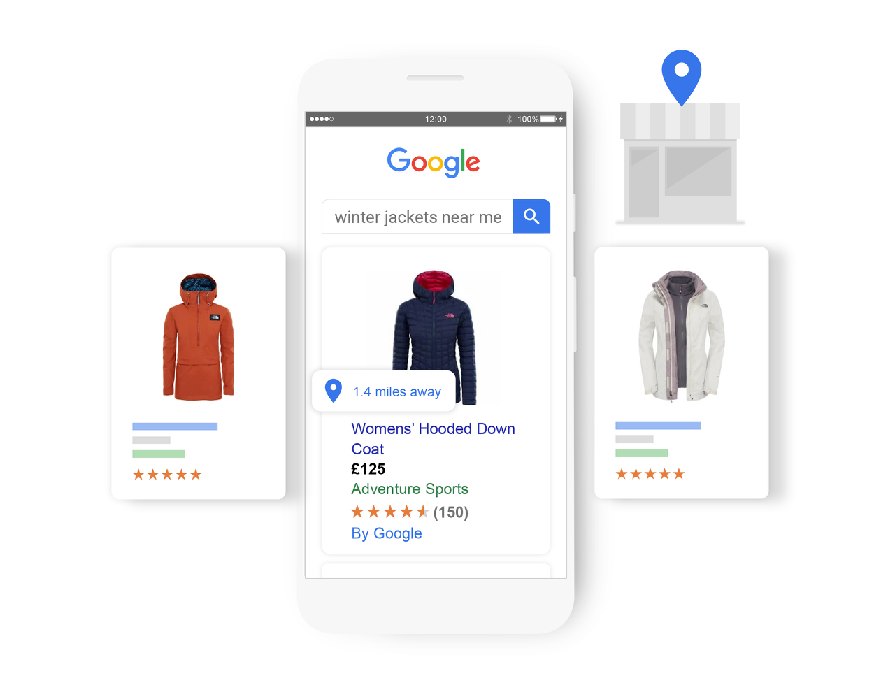 A search for 'winter jackets near me' brings up relevant local inventory ads