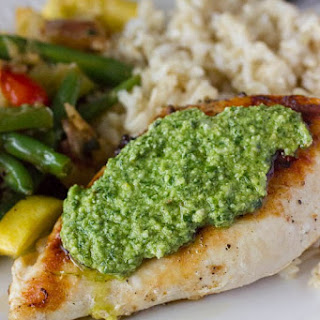 Greek Pesto Sauce with Grilled Chicken & Mediterranean Veggie Medley