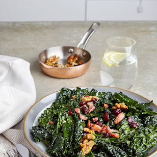 Simple Lacinato Kale Salad with Walnuts, Bacon, and Lemon Dressing