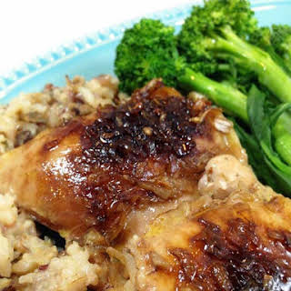 Easy Chicken Thigh & Wild Rice Bake.