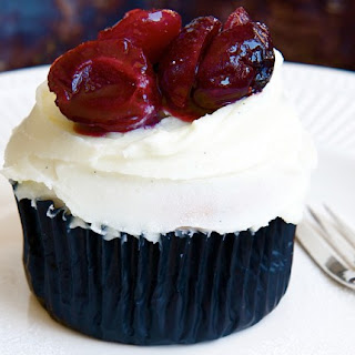 Baked Cherry and Almond Cupcakes with Mascarpone Frosting