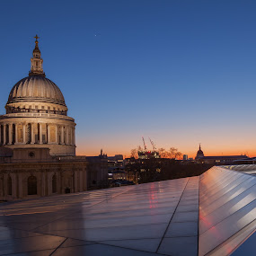 St. Paul's Cathedral at Dusk by Augustin Galatanu - Buildings & Architecture Public & Historical ( illuminated, landmark, london, cathedral, st paul, historical, public, dusk )