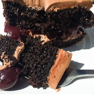 Chocolate Cake with Cherry Filling and Chocolate Butter Cream Frosting.
