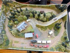 "Photo: 011 An overhead ""track plan"" view of Llanrug. I only found out after the show that this layout was originally built some years ago by fellow Wessex NG Modellers colleague Jerry Oakey and has since passed through several owners until coming to rest and being fully restored by Stan Williams. I will look forward to seeing this inspirational little layout at a future event in the hopefully not to distant future ."