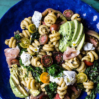Avocado Caprese Pasta with Grilled Broccoli Rabe.