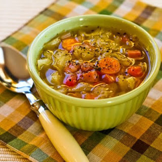 Crockpot (or Stovetop) Ham and Cabbage Soup with Red Bell Pepper.