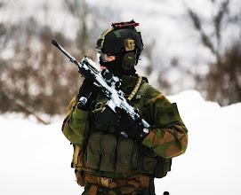 Photo: Soldater fra Kystjegerkommandoen under vinterøvelsen Cold Response 2009Soldiers from the coastal rangers command during winter exercise 2009