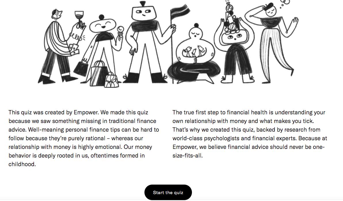 Empower quiz landing page