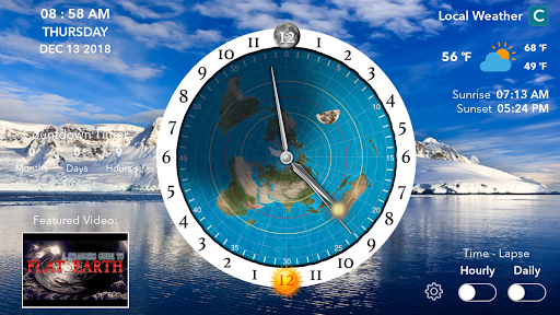 Screenshot for Flat Earth Sun & Moon Clock in United States Play Store