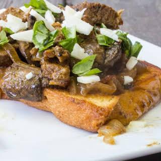 Open Faced Steak Sandwich.