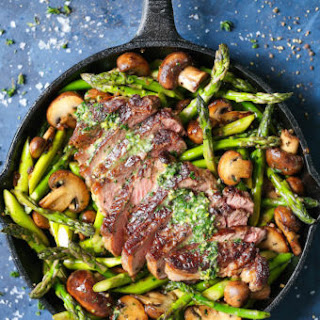 One Pan Steak and Veggies with Garlic Herb Butter.