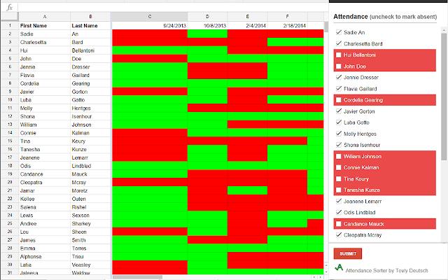 attendance sorter google sheets add on. Black Bedroom Furniture Sets. Home Design Ideas