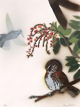 Photo: Pochoir Mountain Pygmy-Owl & Blue-throated Hummingbird, 12 18 high by 12.5 wide