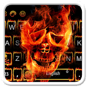 Flaming Fire Skull Keyboard