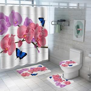 Set pentru baie- perdea, covorase si husa de toaleta, Spring