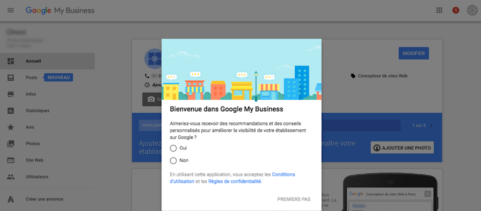 Réglages et paramétrage de Google My business
