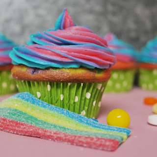Somewhere Over the Rainbow Candy Cupcakes