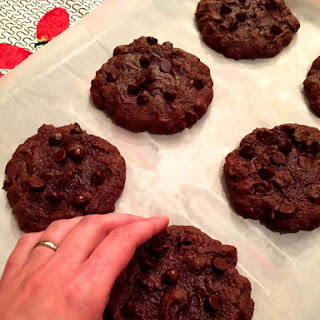 Soft & Chewy Double Chocolate Chip Cookies.