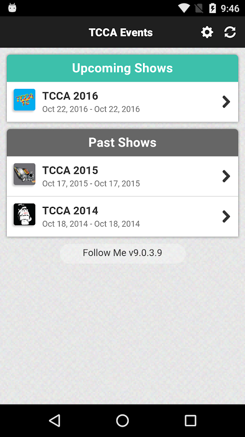 TCCA Events- screenshot