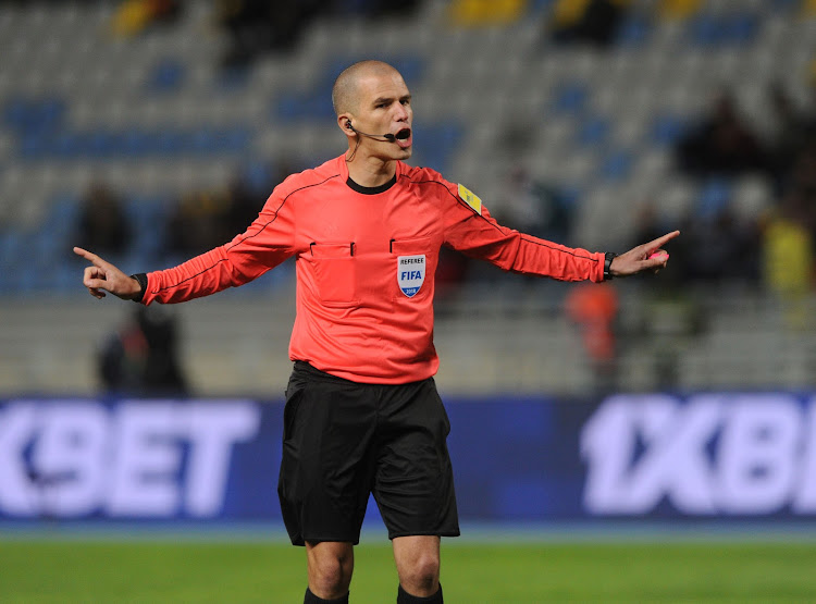South African referee Victor Gomes takes charge during the CHAN Group C match between Nigeria and Rwanda on 15 January 2018 at Grand Stade de Tanger, Tanger Morocco.