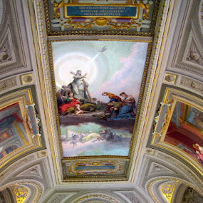 Inside the Vatican by Sandra Millsap - Buildings & Architecture Public & Historical ( ornate, ceiling, architecture, vatican, painting )