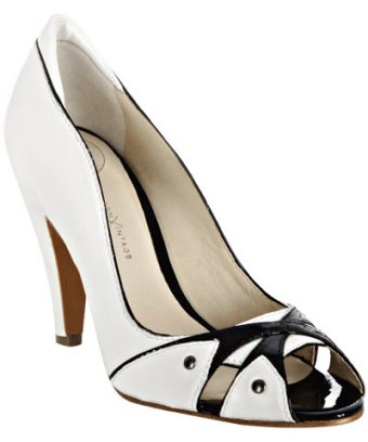modern vintage white leather  peep toe pumps