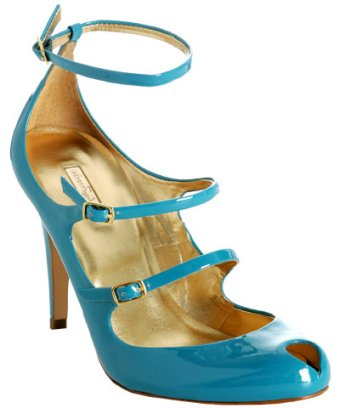 turquoise patent leather strappy pumps