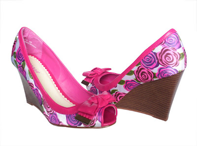 SPICY HOT PINK Floral Peep Toe Wedge High Heel